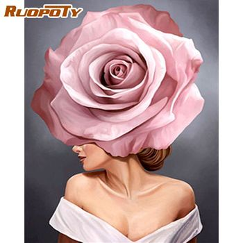 RUOPOTY 60x75cm Frame DIY Paint By Numbers Kits Flower Girl Figure Oil Paints Home Wall Artcraft Decor Picture By Numbers Gift