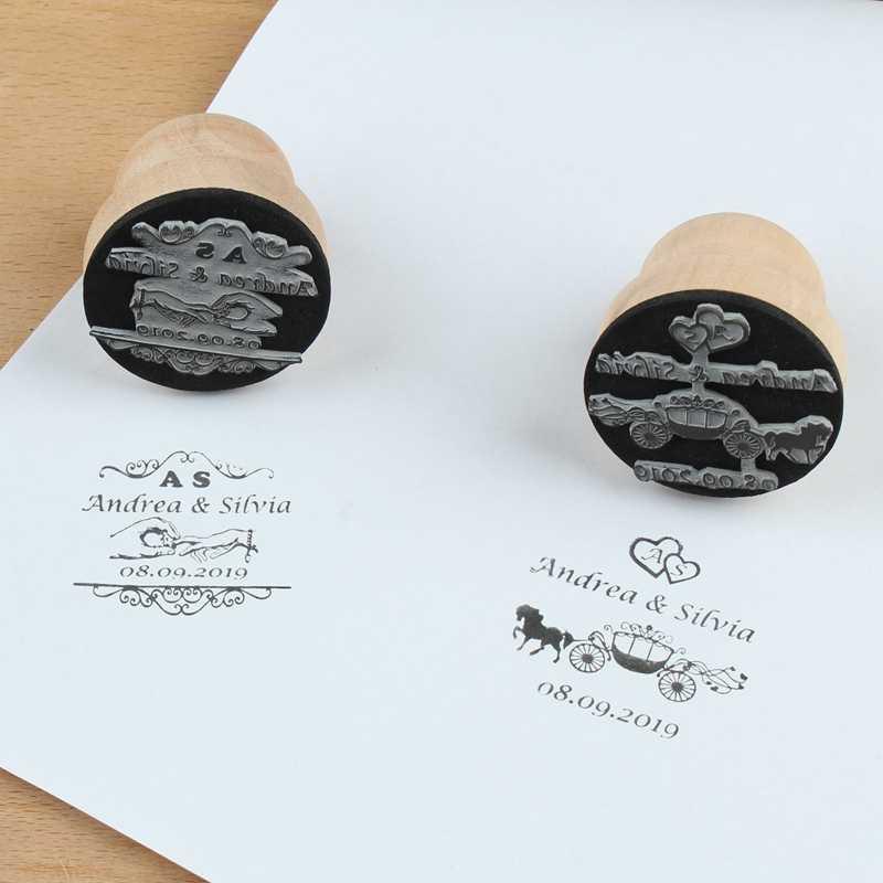 เส้นผ่านศูนย์กลาง 4.5 ซม.custom ชื่อวันที่ส่วนบุคคลโลโก้ไม้แสตมป์ seal สำหรับ DIY เชิญเครื่องเขียนงานแต่งงานตกแต่ง