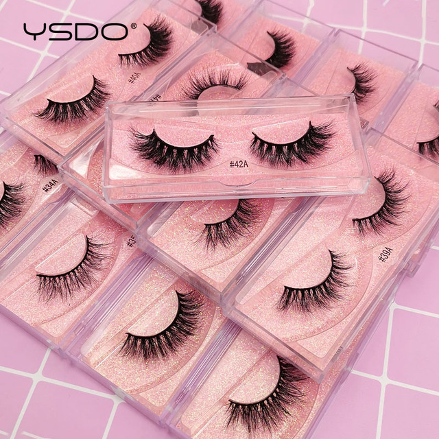 YSDO 1 Pair 3D Mink Eyelashes Fluffy Dramatic Eyelashes Makeup Wispy Mink Lashes Natural Long False Eyelashes Thick Fake Lashes