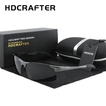 HDCRAFTER Brand Driving Goggle Sunglasses Men Polarized Sun Glasses Women Aluminum Magnesium Men's sunglasses Gafas De Sol
