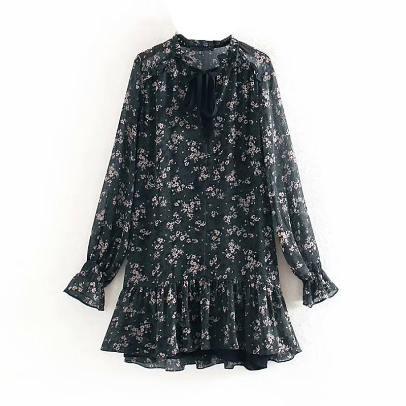 Women Ruffle Bow Tie Mini Floral Print Dress Vintage Long Sleeve Vestido Casual Loose Pleated Ladies Dress Ruffles Party Dresses 5