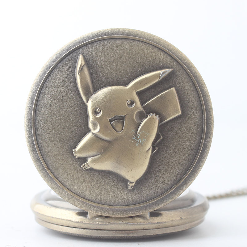 Pocket & Fob Watch Bronze Cartoon Pikachu Quartz Pocket Watch  Necklace Pendant for Men/Women Watch Gift