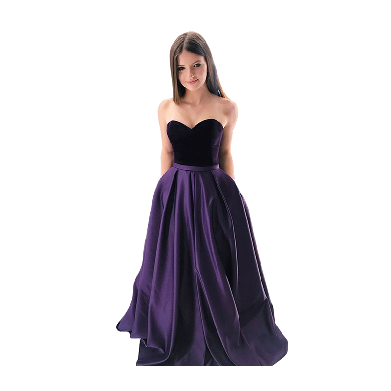 Sweetheart Prom Dresses 2020 Strapless Long Dress With Pockets Lace Up Back Velvet Top Satin Skirt Formal Gown Vestidos De Gala