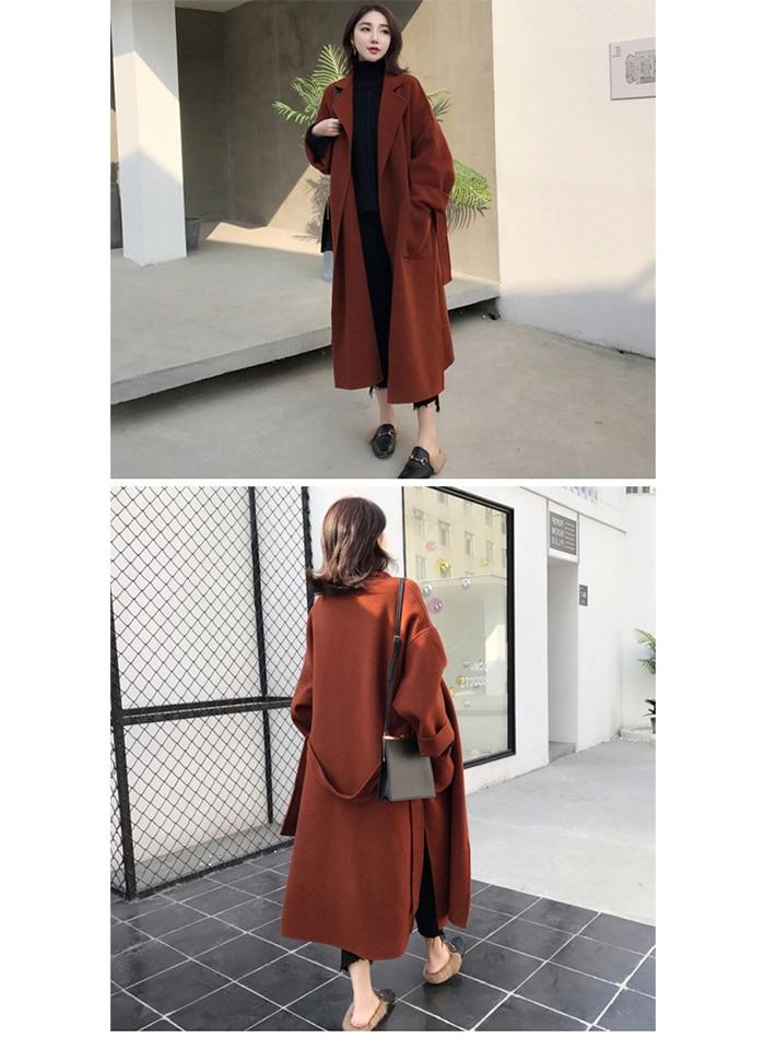 Liva girl Long Coat Winter Coat Women Belted Solid Coat Women's Jacket Women's 5 Colors Coat wool Coat 16