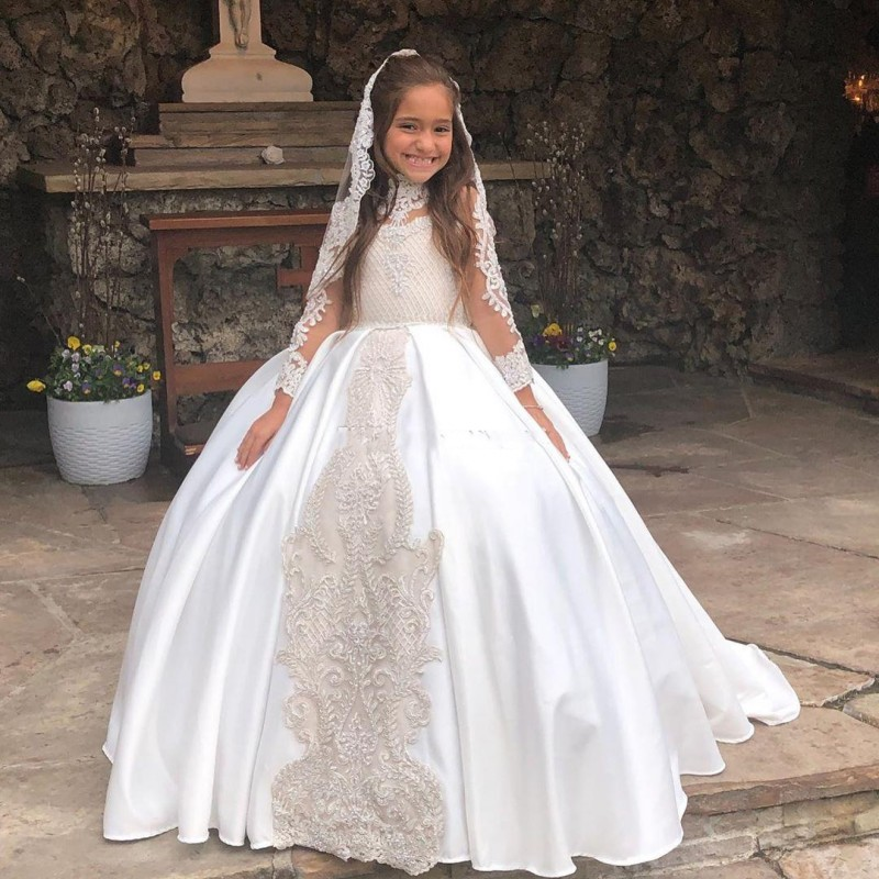 Vintage Ball Gown   Flower     Girls     Dresses   High Neck Lace Appliques Illusion Full Sleeves Little   Girls   Birthday Party   Dress