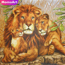 MomoArt Diamond Painting Lion Mosaic Full Drill Square Cross Stitch Embroidery Animal Home Decoration