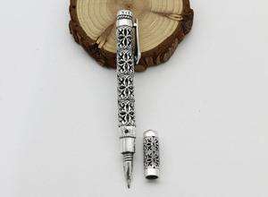 Image 2 - الفضة النقية اللون الاسترليني 925 الفضة اللون قلم هدية للرجال خمر منحوتة مخرمة الأعمال قلم حبر جاف قلادة مجوهرات