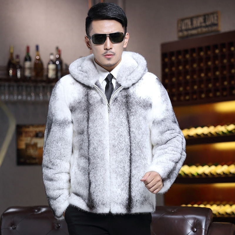 2020 Winter Natural Mink Fur Jacket Men Real Fur Coat Hooded Genuine Leather Mens Mink Jackets Luxury Fur Coats Z08-A-3 KJ3440