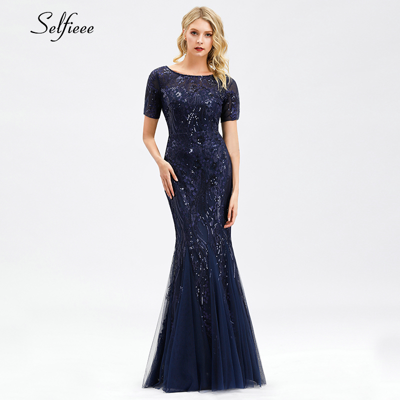 Sexy Maxi Dress Mermaid Sequined O-Neck Short Sleeve Ladies Elegant Bodycon Dress Woman Party Night Gowns Zomerjurk Dames 2020 4