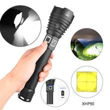 Алюминиевый сплав XHP90 мощный светодиодный фонарик зарядка через usb дисплей мощность 2500лм наружный ночной фонарик