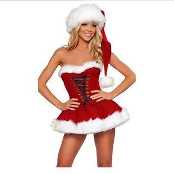 Christmas Exotic Sexy Babydoll Women Erotic Clothes Winter Adjustable Shoulder Strap Back Design