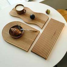 1Pc Nordic Groove Wood Dessert Slicing Bread Tray Kitchen Anti-slip Cutting Board Storage Organizer