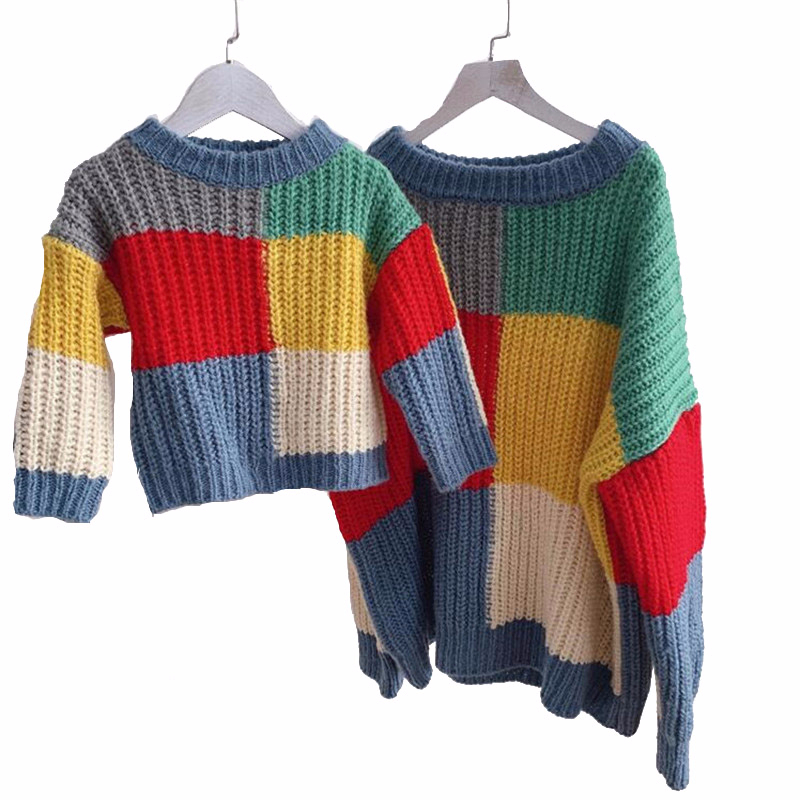 Retro Mother Daughter Wool Sweater Thick Mommy and Me Knit Sweaters 2019 Autumn and Winter Family Matching Tops Clothes New