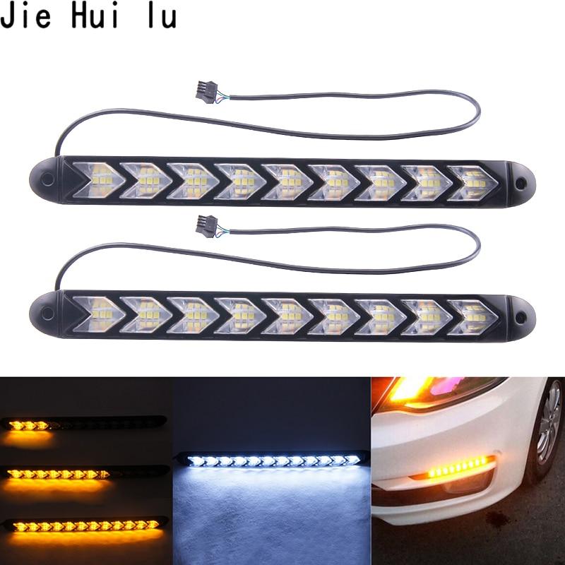 2x רכב גמיש DRL לבן/אמבר Switchback LED אביר על גלגלי רצועת אור פנס חץ נצנץ DRL הפעל אות עמיד למים