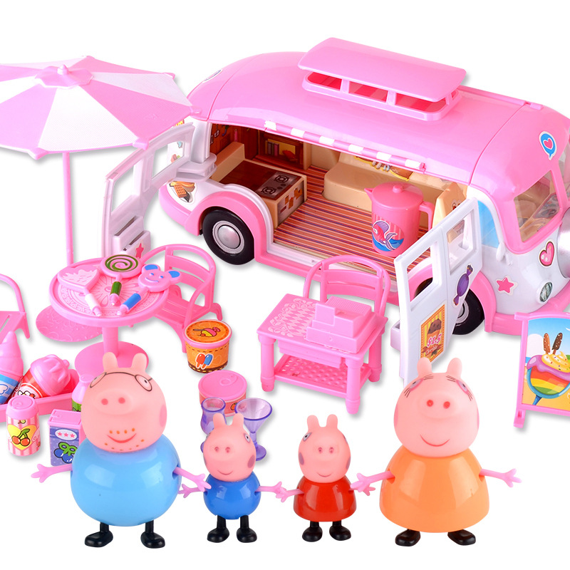 Peppa Pig George Toys Car Dining Car Spring Tour Anime Action Figure Anime Toys Family Party Dolls Birthday Gifts Kids
