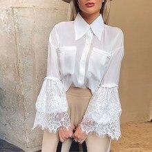 White Lace Blouse Shirt Elegant Women Tops Sexy Shirts Clothes