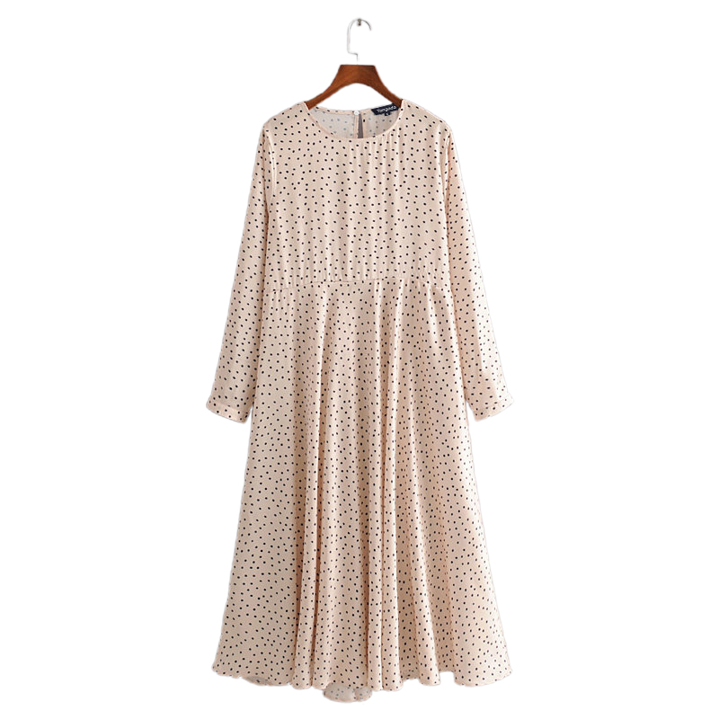 Tangada Fashion Women Dots Print Beige Pleated Midi Dress Long Sleeve Ladies Vintage Office Lady Dress Vestidos 3H292
