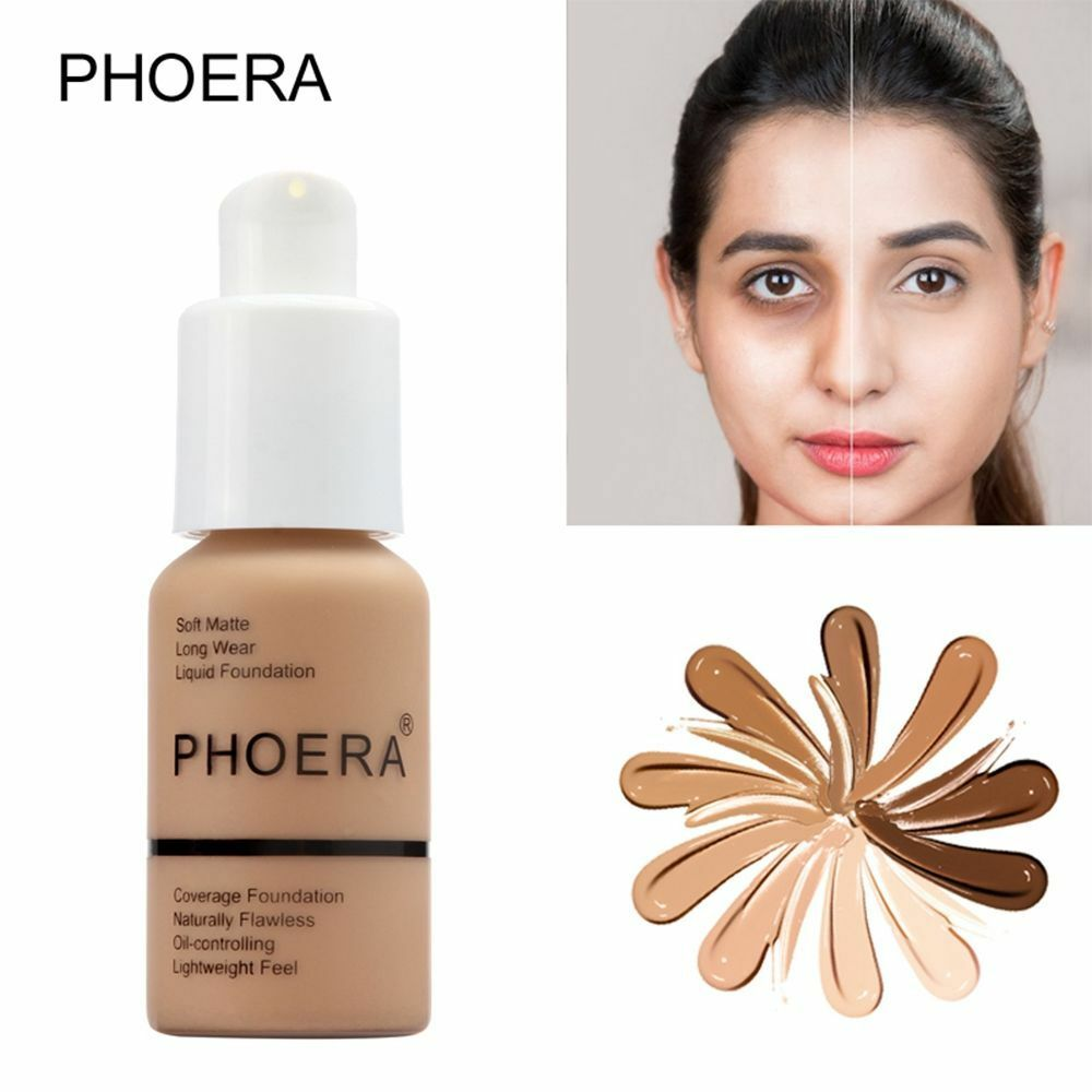 Phoera 8 Colors Matte Foundation Base Face Makeup Cosmetics Mineral Moisturizing Whitening Full Coverage Liquid Concealer Cream image