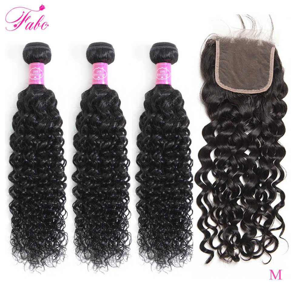 Fabc Haar Braziliaanse Water Wave 3 Bundels Met Frontale 13X4 4X4 Zwitserse Kant Pre Geplukt Non-Remy Human Hair Bundels Met Sluiting