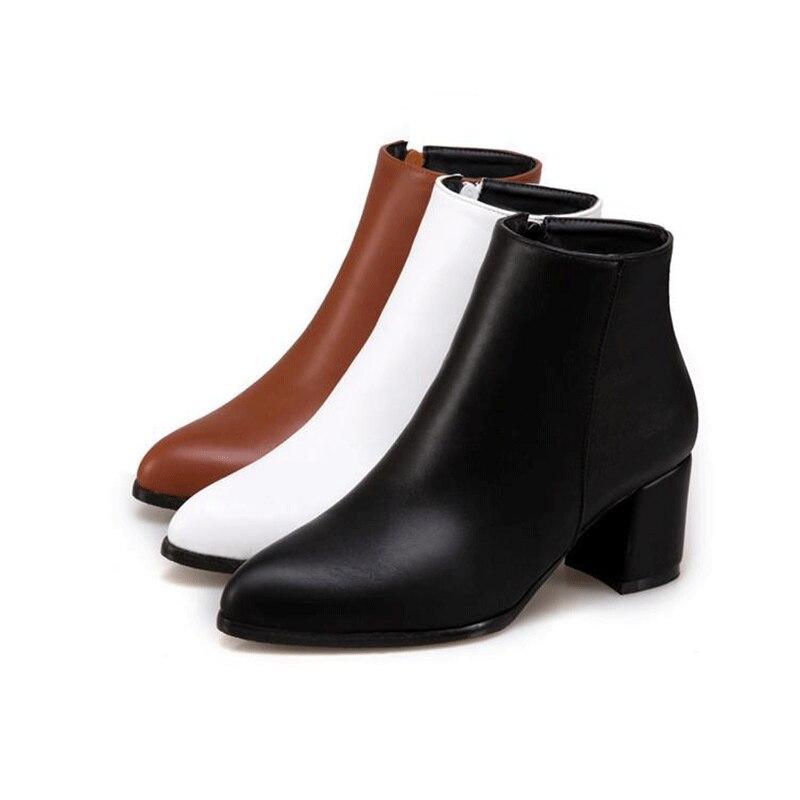 2020 Extra Breite 35-47 Neue Stiefeletten Martin Plüsch Casual Schuhe Frauen Stiefel Winter Wasserdicht Schwarz Braun Stiefel weiß Zipper