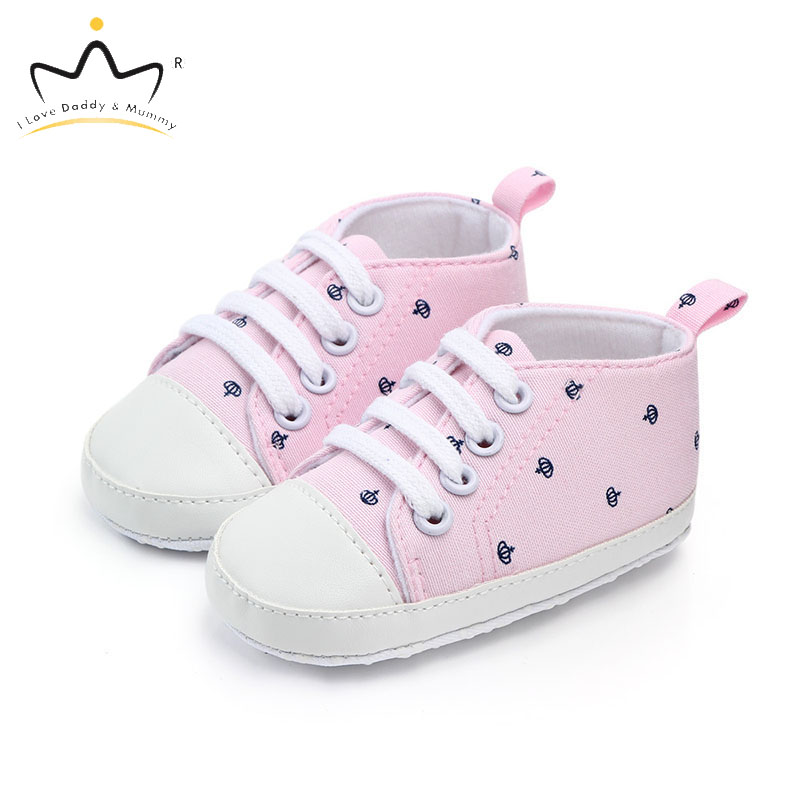 New Crown Print Baby Shoes Soft Cotton Non-slip Infant Toddler Shoes Boy Girl Sneakers Casual Shoes Boys Girls First Walkers