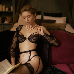 Image 5 - French Erotic Lingerie Lace Bra Panty Garter Set / See through Nightgown Sexy Perspective Dressing Gown Young Women Babydoll