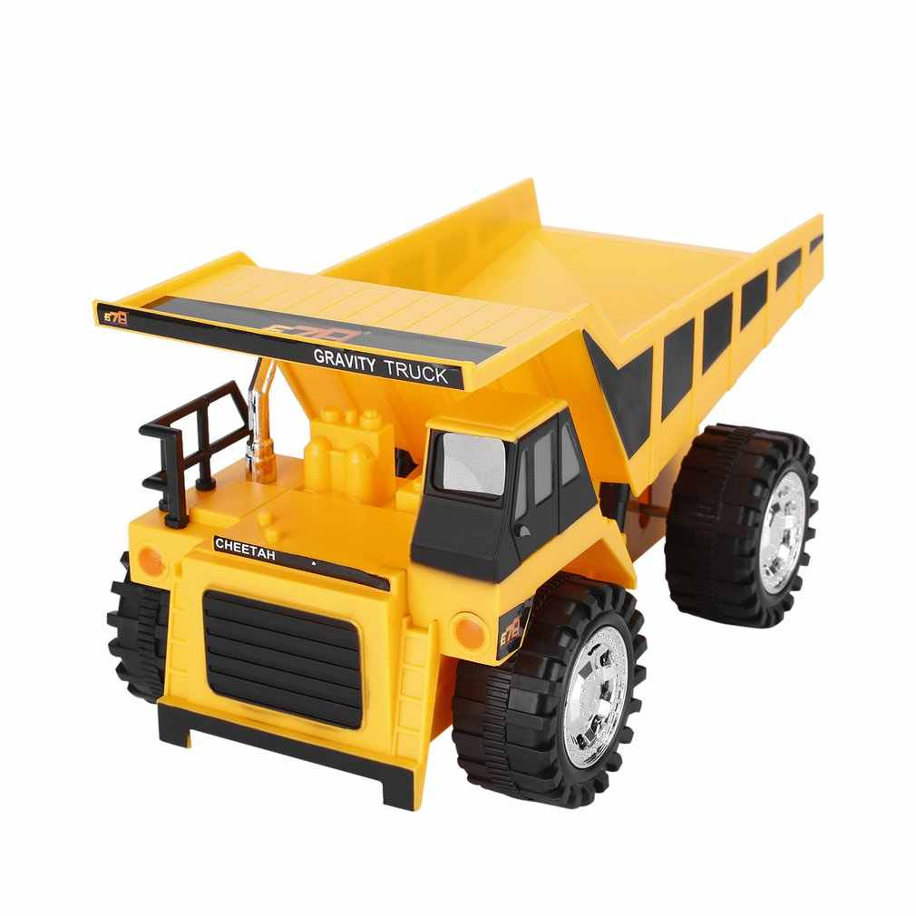 RC 4 Wheel Engineering Car Toy Model Wire Control Preschool Learning for Children Trucks Bulldozers Bulldozers Yellow