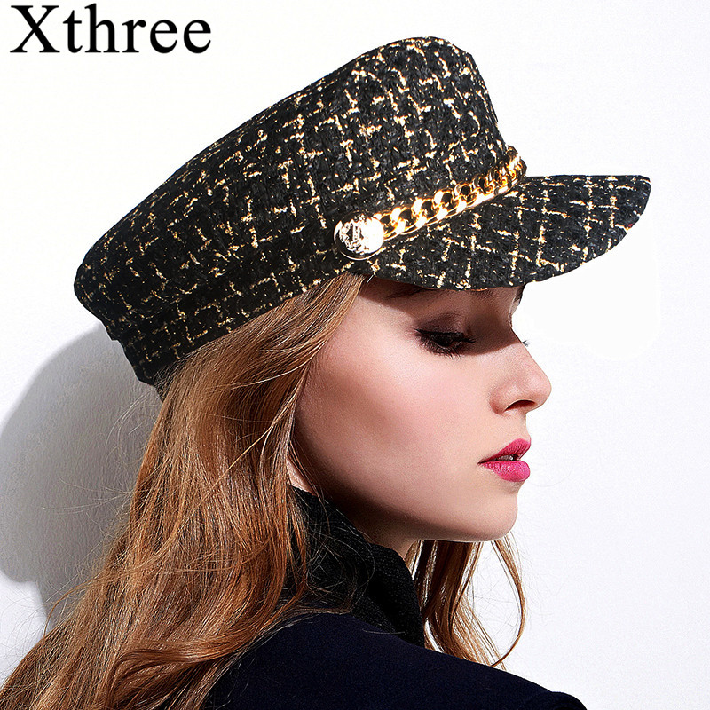Xthree Autumn Hat Winter Chain Wool Military Hat Fashion Hats For Women Female Flat Army Cap Salior Hat Girl Visor Travel Berets