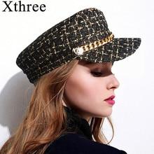 Xthree Autumn Hat Winter Chain Wool Military Hat Fashion Hats for Women Female Flat Army Cap Salior Hat Girl Visor Travel Berets