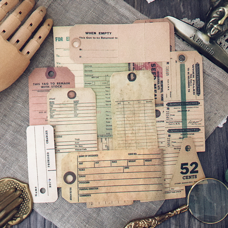 13Pcs/Bag Vintage Old English Ticket Label Tag Sticker DIY Craft Scrapbooking Album Junk Journal Planner Decorative Stickers