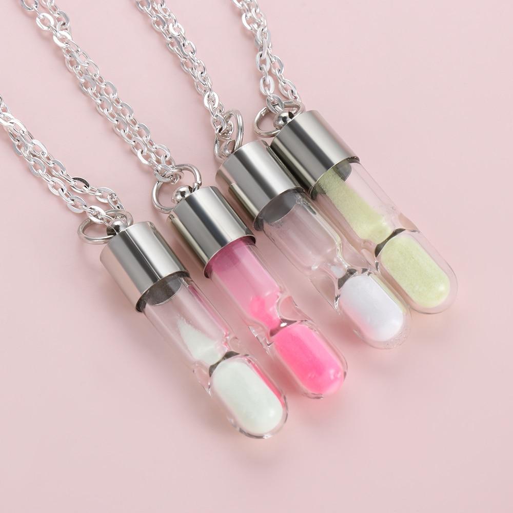 Women Men Glowing Luminous Sand Timer Glass Pendant Hourglass Necklace Gift