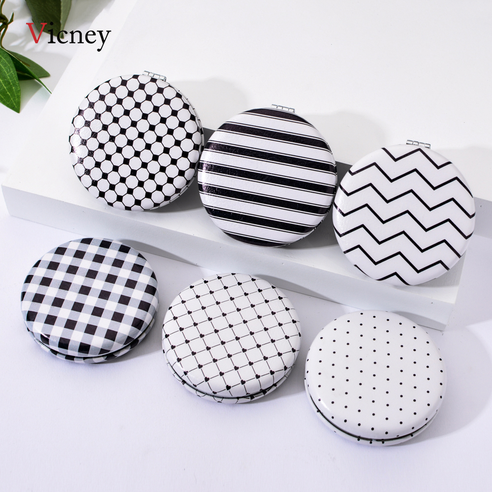 Vicney New Black And White Element Portable Double-Sided Folding Mirror Fashion Simple Stripe Pocket Mirror Cosmetic Mirror