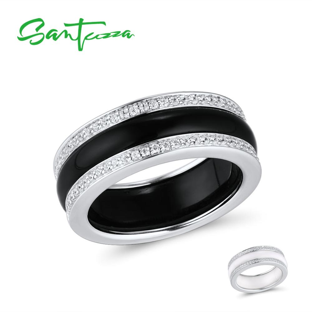 SANTUZZA Silver Rings For Women Genuine 925 Sterling Silver White Black Ceramic CZ Round кольцо Anillos Vintage Fine Jewelry