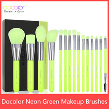 Docolor 10/15pc Neon Makeup Brushes Professional Powder Foundation eye Blending Contour Makeup Brushes Set Synthetic Hair Brush