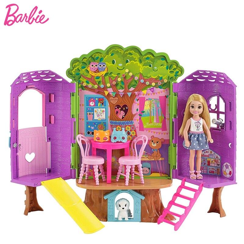 Original Barbie Puppen Kelly Baum Haus Schöne Prinzessin Spielzeug für Mädchen Kinder Mode Spielzeug Make-Up Bonecas Geburtstag Geschenke
