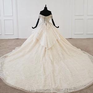 Image 2 - Htl1106 플리츠 볼 가운 웨딩 드레스 럭셔리 보트 넥 바닥 길이 웨딩 드레스 플러스 사이즈 커브 모양 로브 mariage en perle