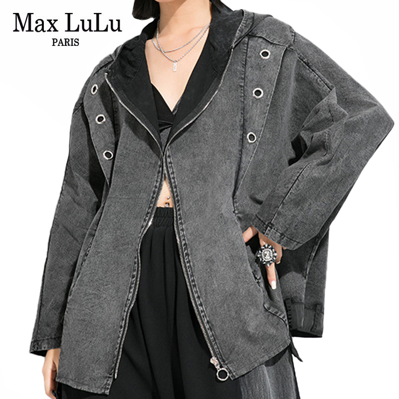 Max LuLu 2020 New Korean Spring Fashion Ladies Punk Style Trench Womens Vintage Zipper Coats Oversized Hooded Streetwear Clothes