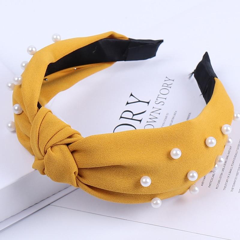 Couleur unie noeud bandeaux pour femmes Simple tissu filles bandeau femmes cheveux accessoires large côté bandeau 25