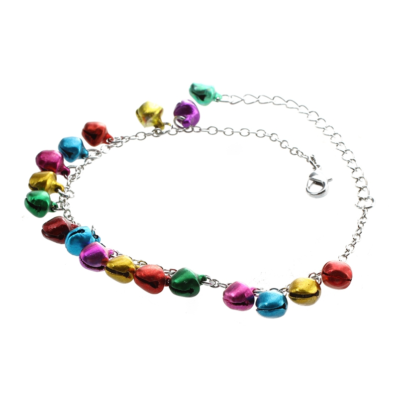 Metal Multicolor Bells Charms Chain Link Anklet Ankle Bracelet