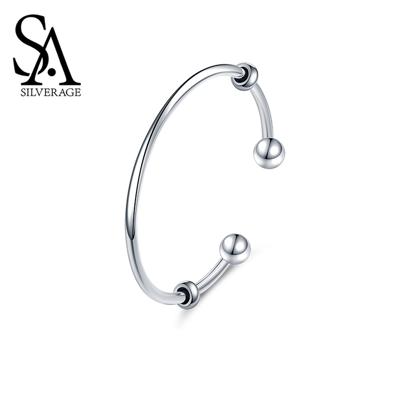SA SILVERAGE Smooth Bracelet Fantasy Beads S925 Opening Bracelet Female Sterling Silver Beads Simple Personality Hand Jewelry