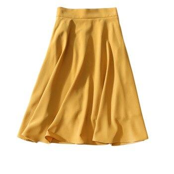 Women Skirt Spring and Summer New Style Drape Silky Anti-wrinkle Mid-length High Waist A Word Big Skirt Skirt Skirt Skirt Women фото