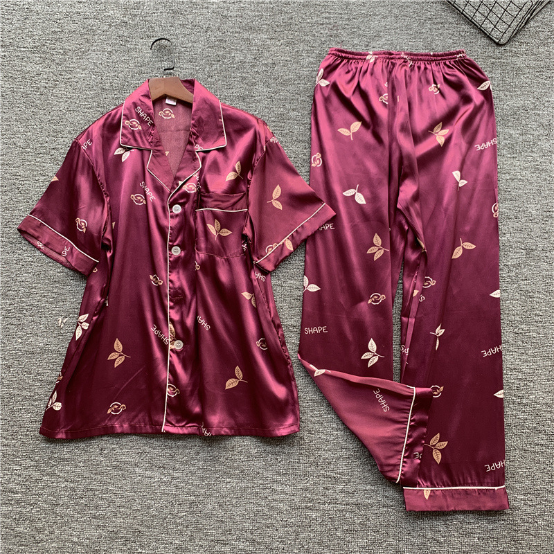 Burgundy Short Sleeve Print Men Sleep Set Home Wear Lingerie Satin Kimono Gown 2PCS Nightwear Soft Summer New Lounge Sleepwear