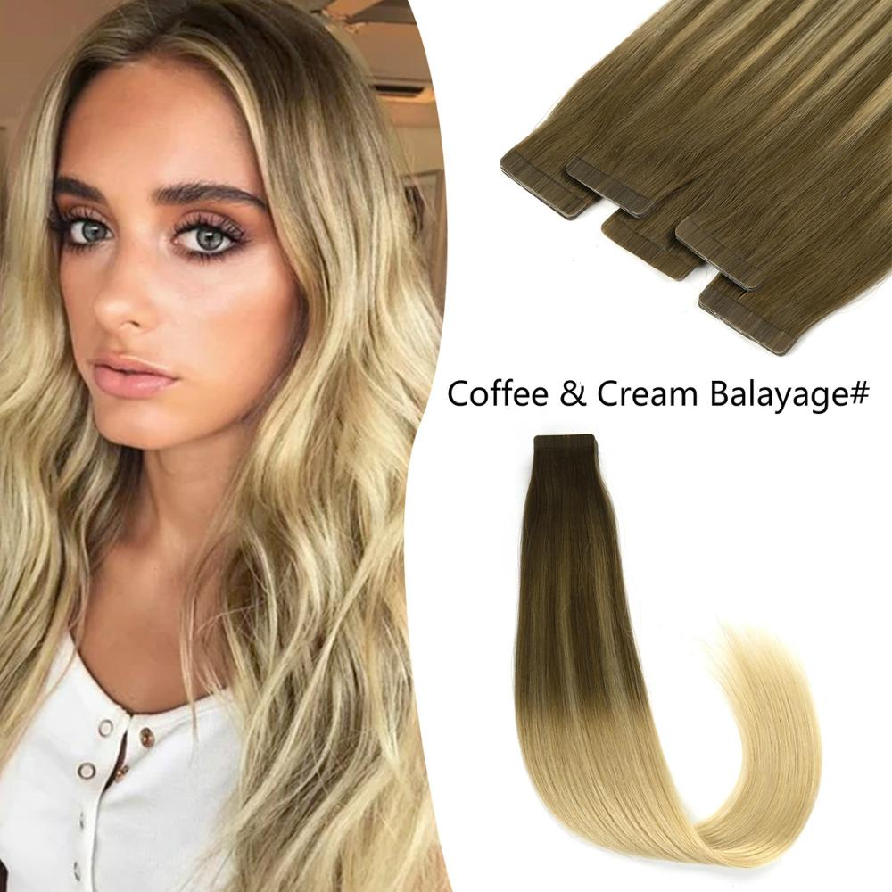 K.S WIGS 2.5g/pc Tape In Human Hair Straight Remy Hair Coffee & Cream Balayage Color Double Drawn Tape On Hair 20''