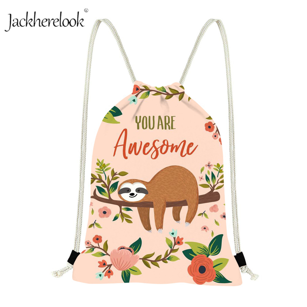 Jackherelook Cute Sloth Drawstring Bags For Women Gympack Casual Travel Backpacks Kids Animal School Storage Bags Girls Mochilas