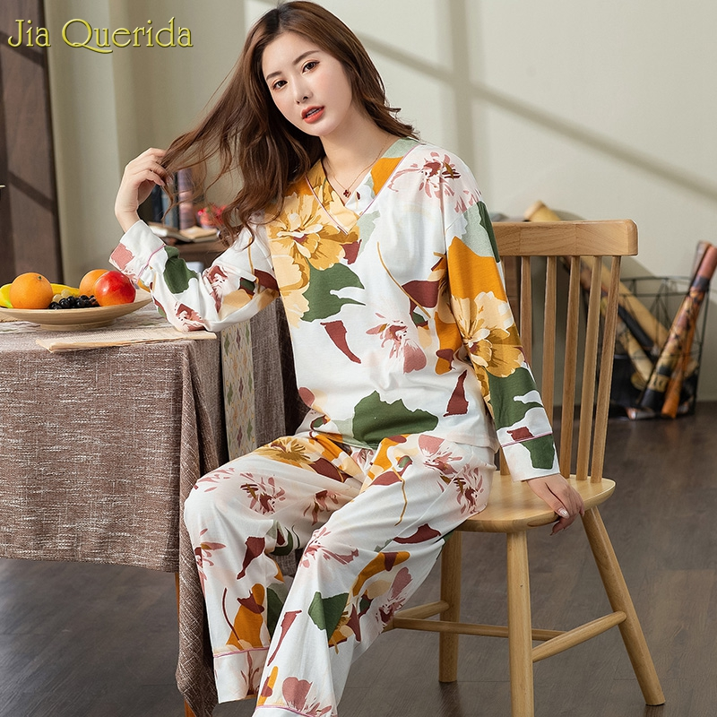 New Pyjamas Women Plus Size Pajamas White Floral Printing V-collar Trendy Lingerie Home Suits Wide Legs Female Cotton Sleepwear 4