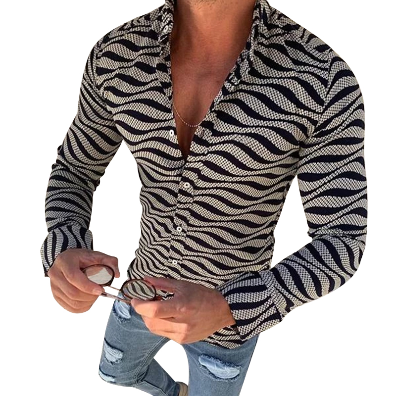 New Arrivals Men's Autumn Fashion Printed Casual Shirts Slim Fit Social Wave Pattern Lapel Long Sleeve Tops Male Clothing Blouse