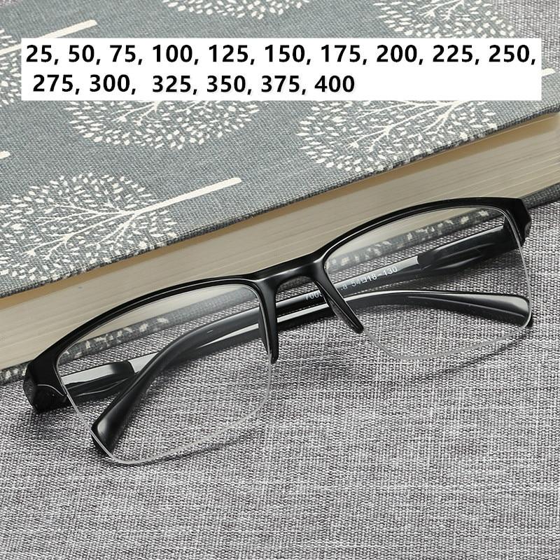 Men Women Black Resin Reading Glasses 1.75 Half Frame Portable Ultralight Magnifying Presbyopic Hyperopia Glasses Square 1.5 2.0