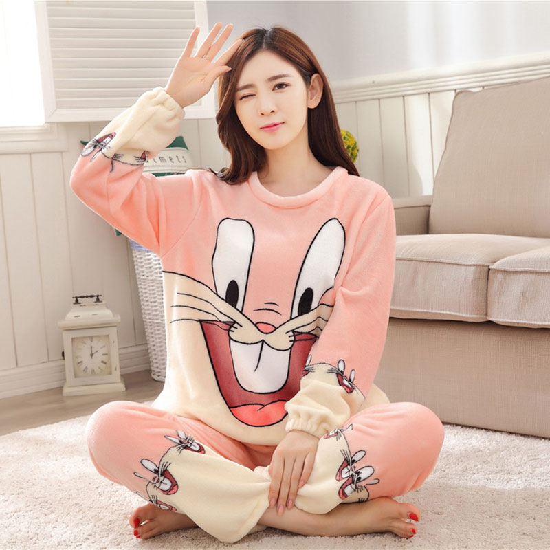 Women Pajamas Set For Autumn cute cartoon pink Women Clothes Sleepwear Nightgown For Women Long Sleeve And Pants Hot Sale pijama 54