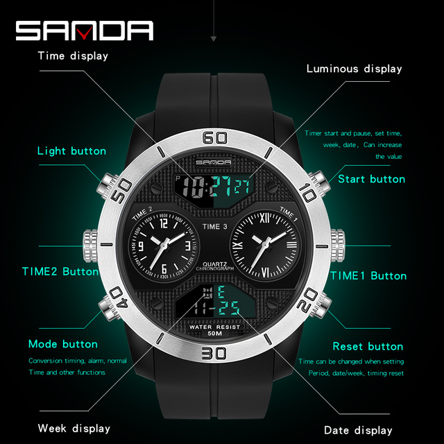SANDA New Fashion Watch Men Sport Quartz Military Wristwatch  LED Bright Men's Watcheswrist Digital Clock relogio masculino 3001