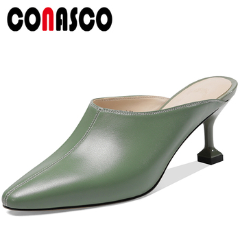 CONASCO Women Sandals Slippers Pumps Mules Genuine Leather 2020 Spring Summer New Concise Elegant Casual Thin Heels Shoes Woman